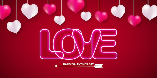 Valentijnsdag neon tekst op achtergrond.