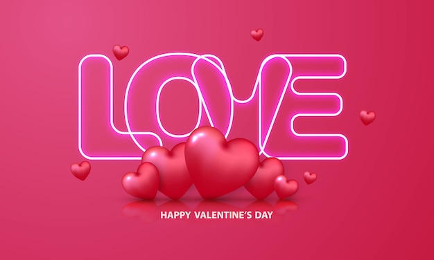 Valentijnsdag neon tekst.