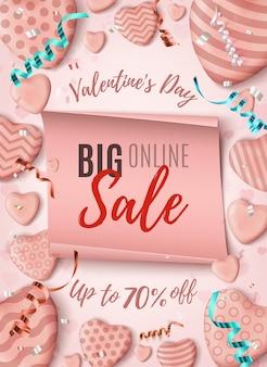 Valentijnsdag online verkoop achtergrond.