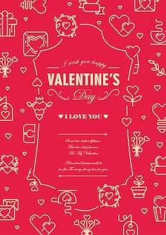 Valentijnsdag ontwerp kaart met woorden over traditionele dag van liefhebbers in centrum van decoratief frame op rode afbeelding