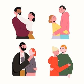 Valentijnsdag paar collectie illustratie