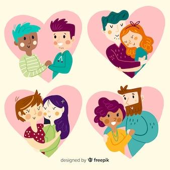 Valentijnsdag paar knuffel collectie