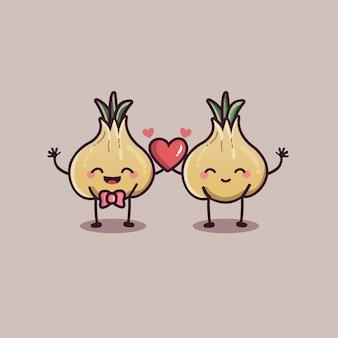 Valentijnsdag paar liefde knoflook