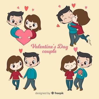 Valentijnsdag paar met leuke collectie