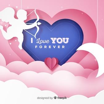 Valentijnsdag papier cherubijn achtergrond