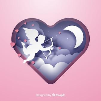 Valentijnsdag papier cupid achtergrond