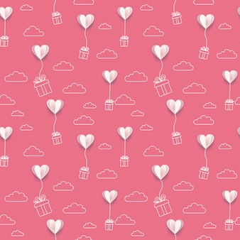 Valentijnsdag papier zet harten ballonnen met lijn kunst geschenkdozen en wolken achtergrond