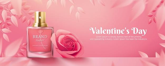 Valentijnsdag parfum advertenties met papieren roze rozen