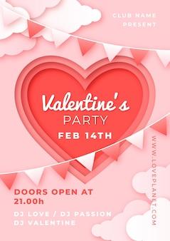 Valentijnsdag partij flyer in papieren stijl