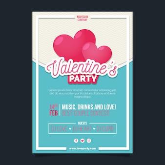 Valentijnsdag partij flyer plat ontwerp