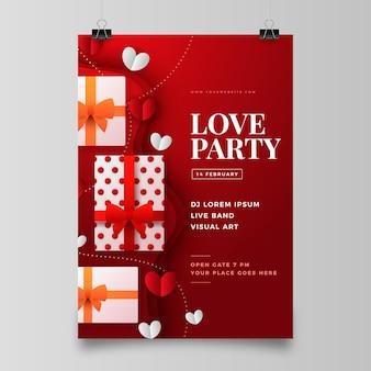 Valentijnsdag partij folder sjabloon in papieren stijl