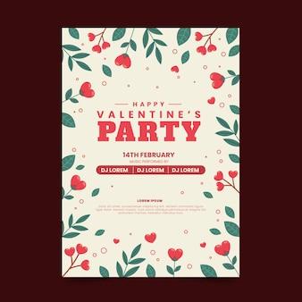 Valentijnsdag partij folder sjabloon Gratis Vector