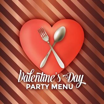 Valentijnsdag partij menu ontwerp