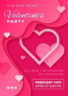 Valentijnsdag partij poster in papieren stijl