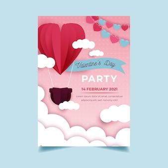 Valentijnsdag partij poster sjabloon in papieren stijl