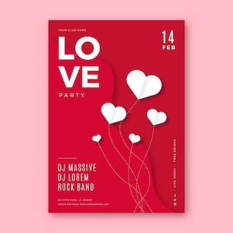 Valentijnsdag partij poster sjabloon