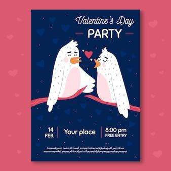 Valentijnsdag partij sjabloon folder