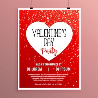 Valentijnsdag partij viering rode sjabloon folder
