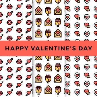 Valentijnsdag patroon collectie in plat design