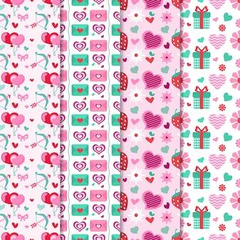 Valentijnsdag patroon collectie met geschenken en ballonnen