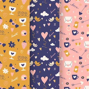 Valentijnsdag patroon collectie met illustraties