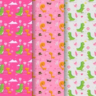 Valentijnsdag patroon collectie met paar schattige dinosaurussen