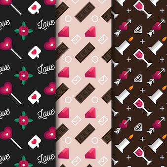 Valentijnsdag patroon collectie platte ontwerpstijl