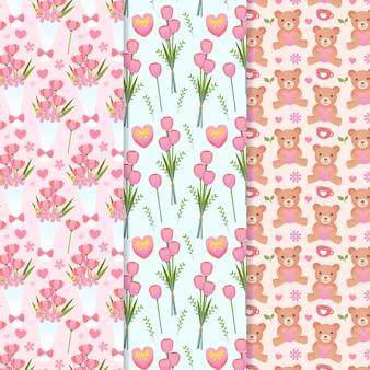Valentijnsdag patroon met bloemen en teddyberen