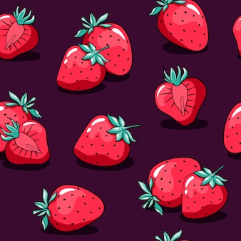 Valentijnsdag patroon met schattige doodle aardbei
