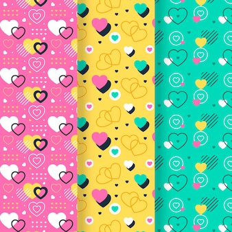 Valentijnsdag patrooncollectie in plat design