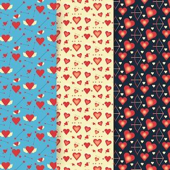 Valentijnsdag patrooncollectie in plat ontwerp