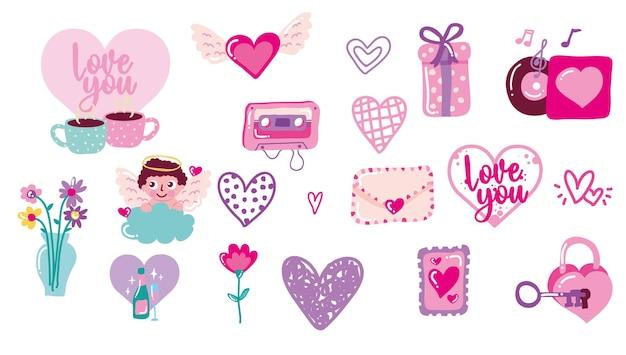 Valentijnsdag pictogrammen geïsoleerd.