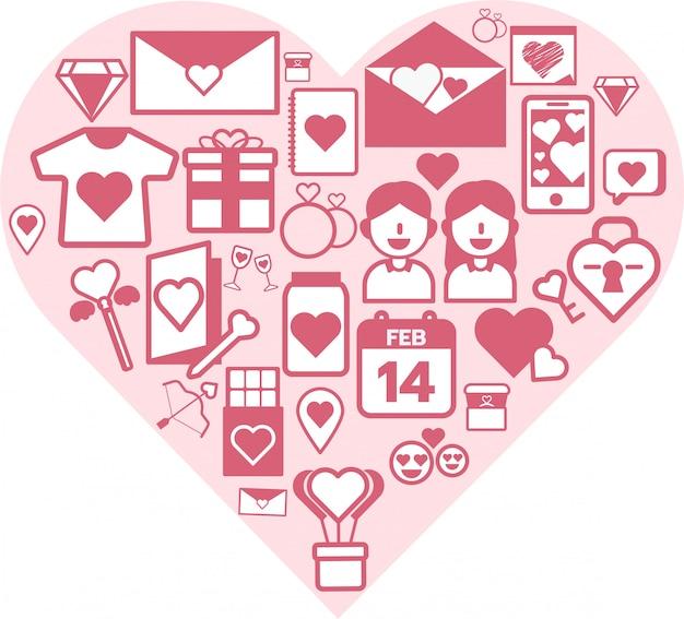 Valentijnsdag pictogramserie