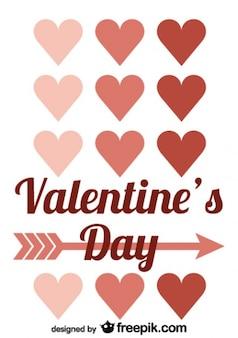 Valentijnsdag pijl retro kaart ontwerp