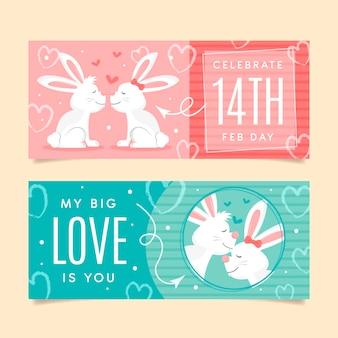 Valentijnsdag platte banners