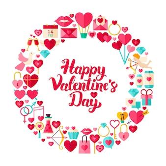 Valentijnsdag platte cirkel. verzameling van liefde vakantie artikelen geïsoleerd over wit.