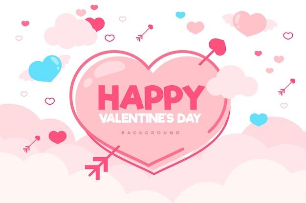 Valentijnsdag platte ontwerp achtergrond met hartjes en wolken