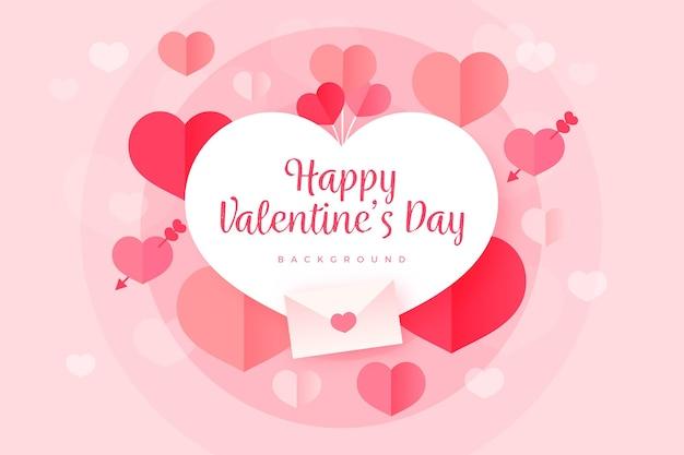 Valentijnsdag platte ontwerp achtergrond met hartjes