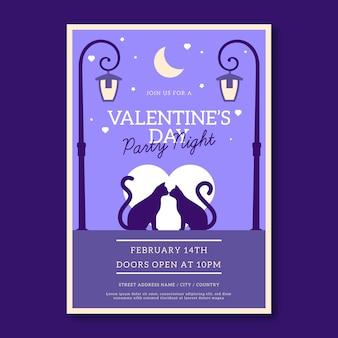 Valentijnsdag platte partij flyer