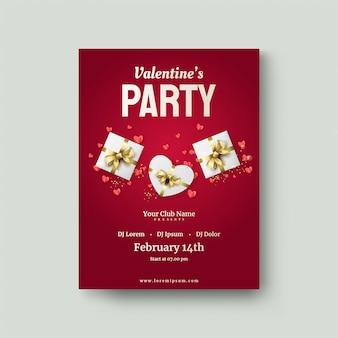 Valentijnsdag poster met een geschenkdoos en gouden lint
