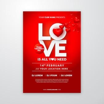 Valentijnsdag poster met liefde belettering voor flyer of dekking