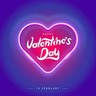 Valentijnsdag poster met neon licht harten achtergrond.