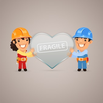 Valentijnsdag poster met paar werknemers