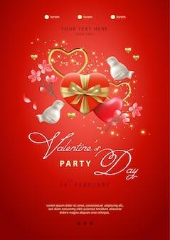 Valentijnsdag poster. rode geschenkdoos in hartvorm, porseleinen vogels en bloemen