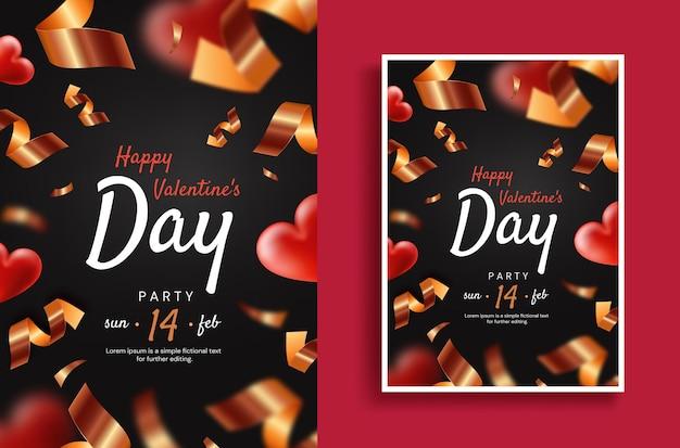 Valentijnsdag poster. valentijnsdag partij folder sjabloon. harten op een zwarte achtergrond met serpentijn.