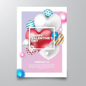 Valentijnsdag realistische partij flyer