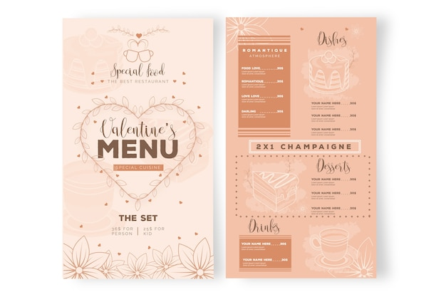 Valentijnsdag restaurant menusjabloon