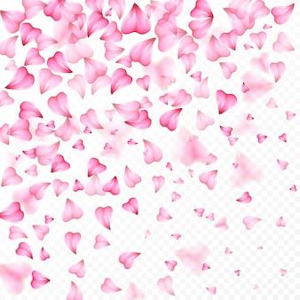 Valentijnsdag romantische achtergrond van roze harten bloemblaadjes vallen