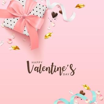 Valentijnsdag romantische poster achtergrond vierkant.