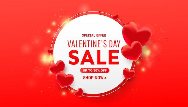 Valentijnsdag ronde frame met jeu de boules harten met confetti op rood